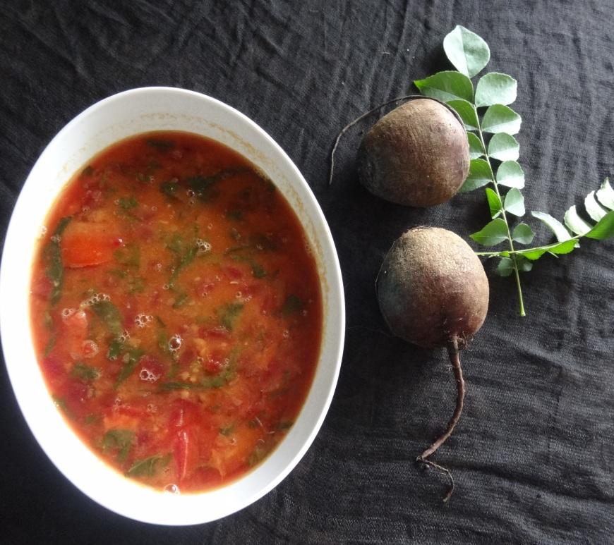Beetroot Spinach Sambar