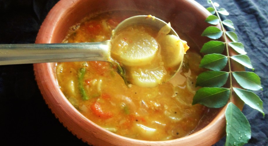 Radish moong dal sambar