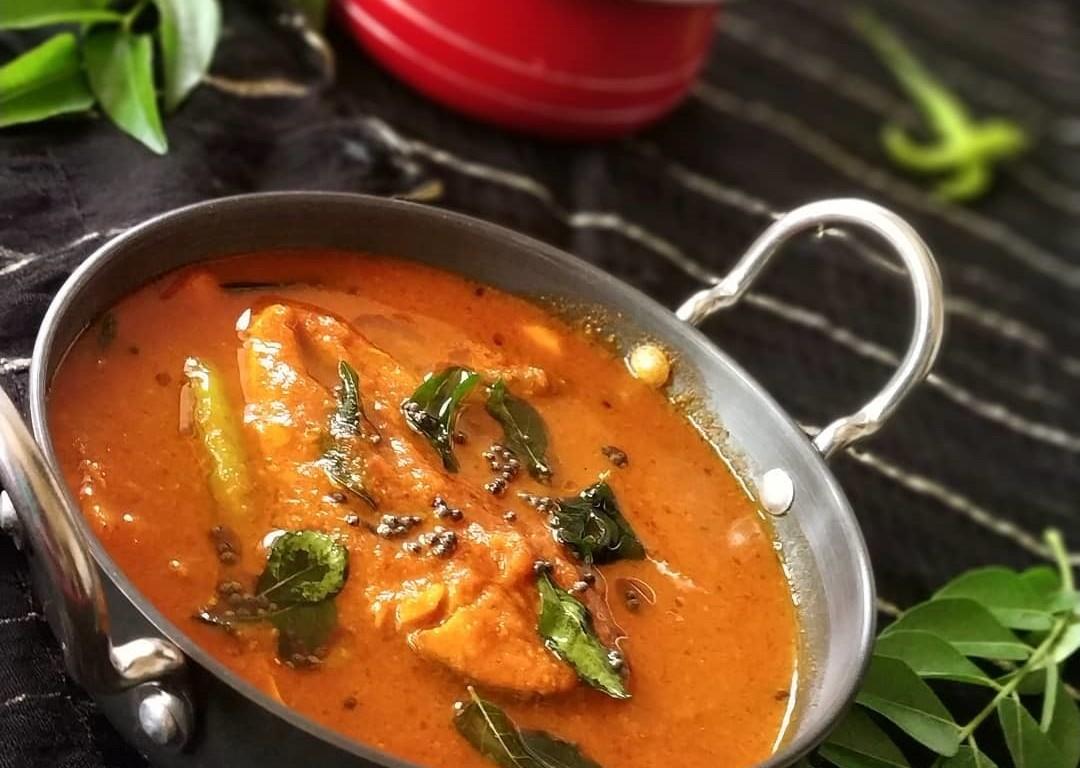 salmon fish curry kaala meen kozhambhu