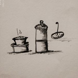 dabara set illustration, filter coffee illustration, food illustration