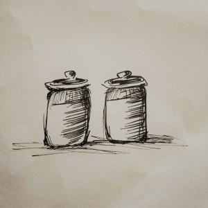 salt jar illustration, pickle jar illustration, food illustration
